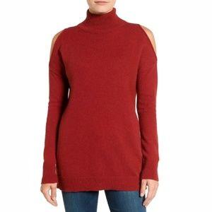 Halogen Cold Shoulder Turtleneck Pullover Wool Top